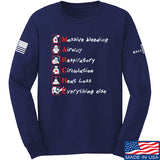 Skinny Medic Trauma 101 - MARCHE Long Sleeve T-Shirt Long Sleeve Small / Navy by Ballistic Ink - Made in America USA