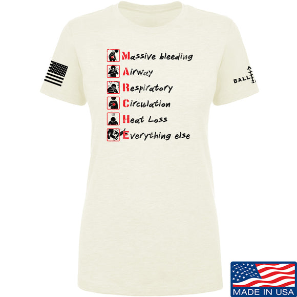 Skinny Medic Ladies Trauma 101 - MARCHE T-Shirt T-Shirts SMALL / Cream by Ballistic Ink - Made in America USA
