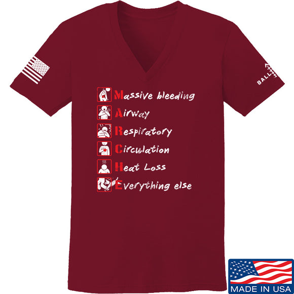Skinny Medic Ladies Trauma 101 - MARCHE V-Neck T-Shirts, V-Neck SMALL / Cranberry by Ballistic Ink - Made in America USA