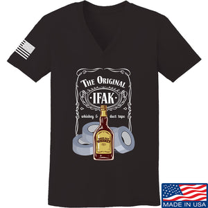 Skinny Medic Ladies The Original IFAK V-Neck T-Shirts, V-Neck SMALL / Cranberry by Ballistic Ink - Made in America USA