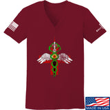 Skinny Medic Ladies Skinny Medic Logo V-Neck T-Shirts, V-Neck SMALL / Cranberry by Ballistic Ink - Made in America USA