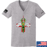 Skinny Medic Ladies Skinny Medic Logo V-Neck T-Shirts, V-Neck SMALL / Light Grey by Ballistic Ink - Made in America USA