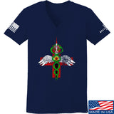 Skinny Medic Ladies Skinny Medic Logo V-Neck T-Shirts, V-Neck SMALL / Navy by Ballistic Ink - Made in America USA