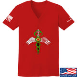 Skinny Medic Ladies Skinny Medic Logo V-Neck T-Shirts, V-Neck SMALL / Red by Ballistic Ink - Made in America USA