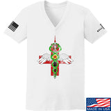 Skinny Medic Ladies Skinny Medic Logo V-Neck T-Shirts, V-Neck SMALL / White by Ballistic Ink - Made in America USA