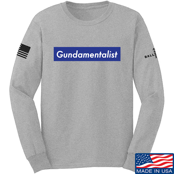 The Gun Collective Blue Gundamentalist Long Sleeve T-Shirt Long Sleeve Small / Light Grey by Ballistic Ink - Made in America USA