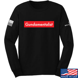 The Gun Collective Red Gundamentalist Long Sleeve T-Shirt Long Sleeve Small / White by Ballistic Ink - Made in America USA