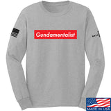The Gun Collective Red Gundamentalist Long Sleeve T-Shirt Long Sleeve Small / Light Grey by Ballistic Ink - Made in America USA