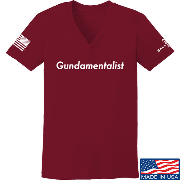 The Gun Collective Ladies White Gundamentalist V-Neck T-Shirts, V-Neck SMALL / Cranberry by Ballistic Ink - Made in America USA