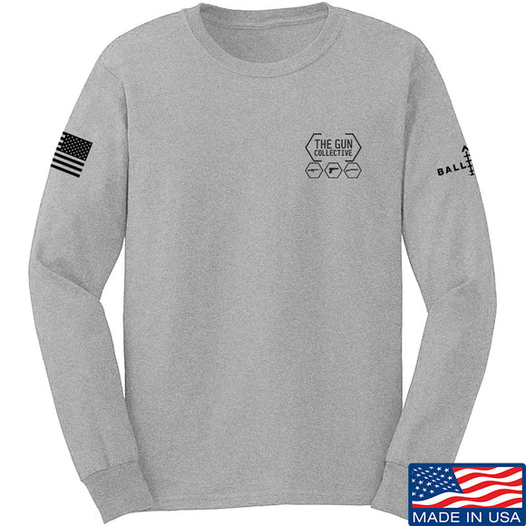 The Gun Collective The Gun Collective Chest Logo Long Sleeve T-Shirt Long Sleeve Small / Light Grey by Ballistic Ink - Made in America USA