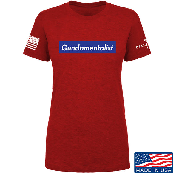 The Gun Collective Ladies Blue Gundamentalist T-Shirt T-Shirts SMALL / Red by Ballistic Ink - Made in America USA