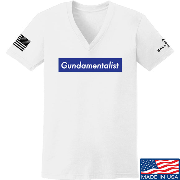 The Gun Collective Ladies Blue Gundamentalist V-Neck T-Shirts, V-Neck SMALL / White by Ballistic Ink - Made in America USA