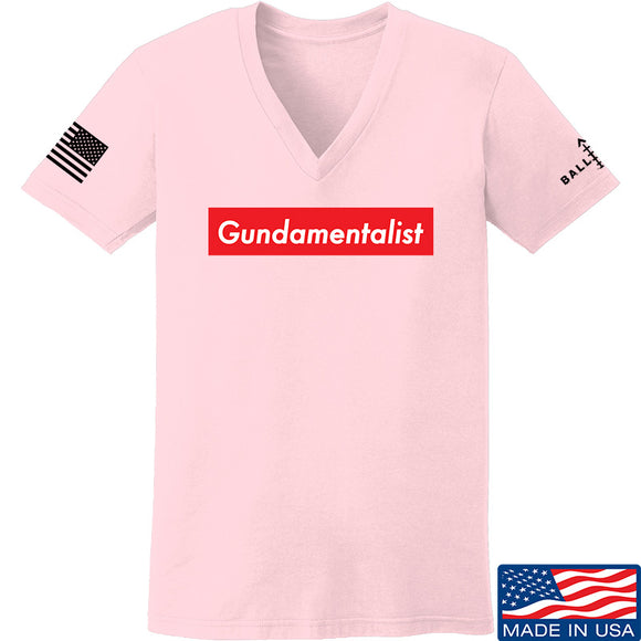 The Gun Collective Ladies Red Gundamentalist V-Neck T-Shirts, V-Neck SMALL / Light Pink by Ballistic Ink - Made in America USA