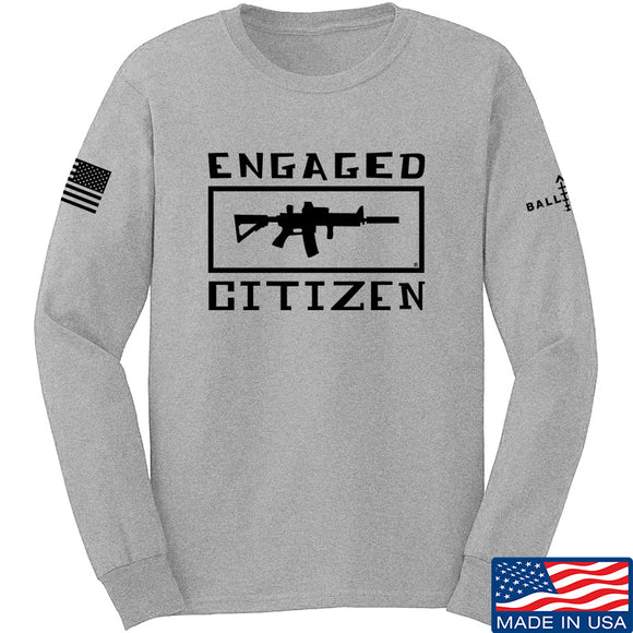 Tactical Walls Engaged Citizen Long Sleeve T-Shirt Long Sleeve Small / Light Grey by Ballistic Ink - Made in America USA