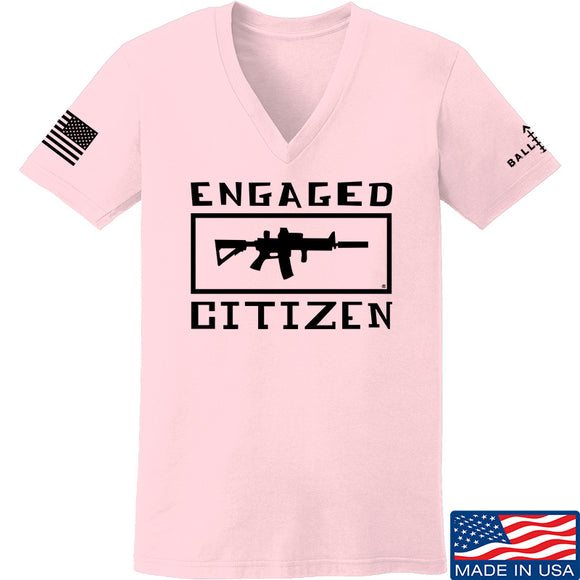 Tactical Walls Ladies Engaged Citizen V-Neck T-Shirts, V-Neck SMALL / Light Pink by Ballistic Ink - Made in America USA