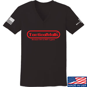 Tactical Walls Ladies Tactical Walls Nintendo V-Neck T-Shirts, V-Neck SMALL / White by Ballistic Ink - Made in America USA