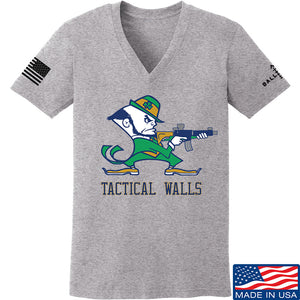 Tactical Walls Ladies Tactical Fighting Irish V-Neck T-Shirts, V-Neck SMALL / Light Grey by Ballistic Ink - Made in America USA