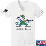 Tactical Walls Ladies Tactical Fighting Irish V-Neck T-Shirts, V-Neck SMALL / White by Ballistic Ink - Made in America USA