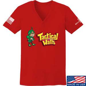 Tactical Walls Ladies Tactical Lucky Charm V-Neck T-Shirts, V-Neck SMALL / Red by Ballistic Ink - Made in America USA