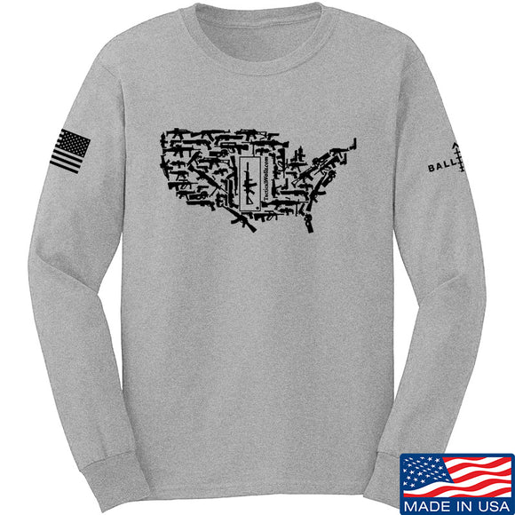Tactical Walls United States of Awesome Long Sleeve T-Shirt Long Sleeve Small / Light Grey by Ballistic Ink - Made in America USA