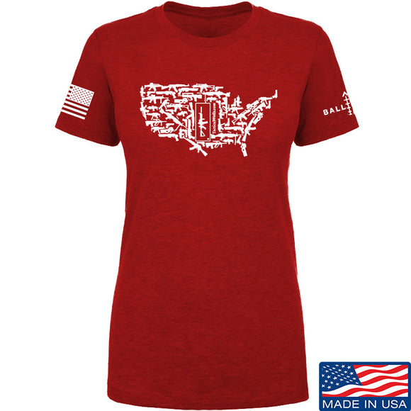 Tactical Walls Ladies United States of Awesome T-Shirt T-Shirts SMALL / Red by Ballistic Ink - Made in America USA