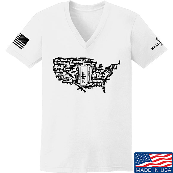 Tactical Walls Ladies United States of Awesome V-Neck T-Shirts, V-Neck SMALL / White by Ballistic Ink - Made in America USA