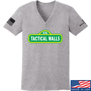 Tactical Walls Ladies Tactical Walls In Sesame Street V-Neck T-Shirts, V-Neck SMALL / Light Grey by Ballistic Ink - Made in America USA