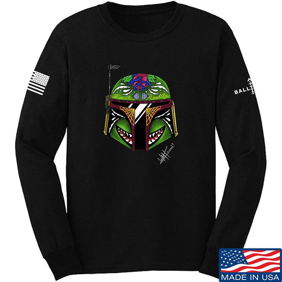 Tattooed n Southern Boba Fett Sugar Skull Long Sleeve T-Shirt Long Sleeve Small / Black by Ballistic Ink - Made in America USA