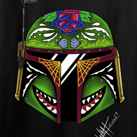 Tattooed n Southern Boba Fett Sugar Skull Long Sleeve T-Shirt Long Sleeve [variant_title] by Ballistic Ink - Made in America USA