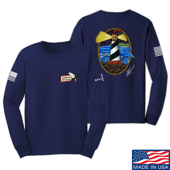Tattooed n Southern Lighthouse Long Sleeve T-Shirt Long Sleeve Small / Navy by Ballistic Ink - Made in America USA