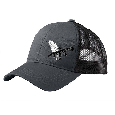 Tattooed n Southern Tattooed n Southern Crossed Feather and Gun Logo Snapback Cap Headwear Black/Black by Ballistic Ink - Made in America USA
