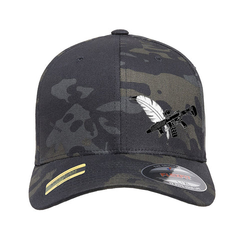 Tattooed n Southern Tattooed n Southern Crossed Feather and Gun Logo Flexfit® Multicam® Trucker Mesh Cap Headwear [variant_title] by Ballistic Ink - Made in America USA