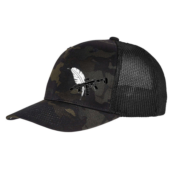 Tattooed n Southern Tattooed n Southern Crossed Feather and Gun Logo Flexfit® Multicam® Trucker Mesh Cap Headwear Black Multicam by Ballistic Ink - Made in America USA