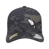 Tattooed n Southern Tattooed n Southern Crossed Feather and Gun Logo Flexfit® Multicam® Trucker Cap Headwear Black Multicam S/M by Ballistic Ink - Made in America USA