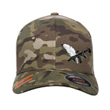 Tattooed n Southern Tattooed n Southern Crossed Feather and Gun Logo Flexfit® Multicam® Trucker Cap Headwear Multicam S/M by Ballistic Ink - Made in America USA