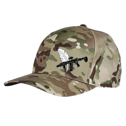 Tattooed n Southern Tattooed n Southern Crossed Feather and Gun Logo Flexfit® Multicam® Trucker Cap Headwear [variant_title] by Ballistic Ink - Made in America USA