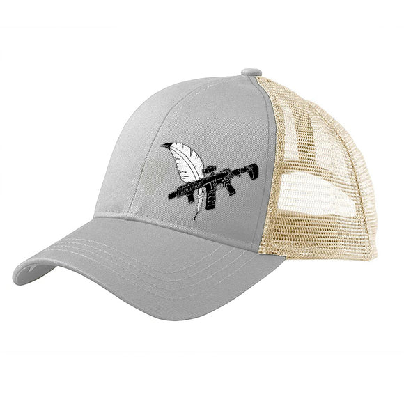 Tattooed n Southern Tattooed n Southern Crossed Feather and Gun Logo Snapback Cap Headwear Dolphin/White by Ballistic Ink - Made in America USA