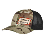 Tattooed n Southern Tattooed n Southern Label Logo Flexfit® Multicam® Trucker Mesh Cap Headwear Multicam by Ballistic Ink - Made in America USA