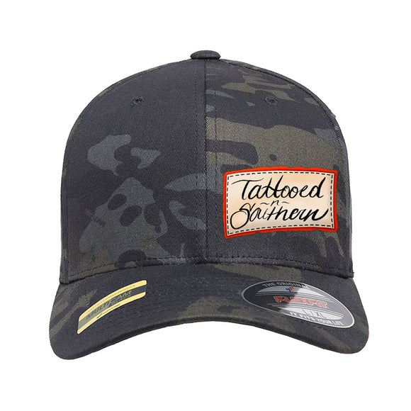 Tattooed n Southern Tattooed n Southern Label Logo Flexfit® Multicam® Trucker Cap Headwear Black Multicam S/M by Ballistic Ink - Made in America USA