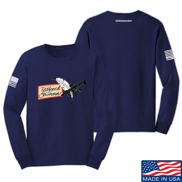 Tattooed n Southern Tattooed n Southern Logo Long Sleeve T-Shirt Long Sleeve Small / Navy by Ballistic Ink - Made in America USA