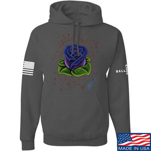 Tattooed n Southern Splattered Rose Hoodie Hoodies Small / Charcoal by Ballistic Ink - Made in America USA