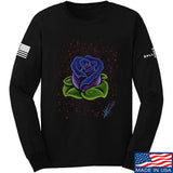 Tattooed n Southern Splattered Rose Long Sleeve T-Shirt Long Sleeve Small / Black by Ballistic Ink - Made in America USA