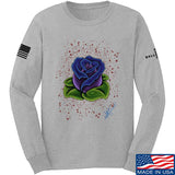 Tattooed n Southern Splattered Rose Long Sleeve T-Shirt Long Sleeve Small / Light Grey by Ballistic Ink - Made in America USA