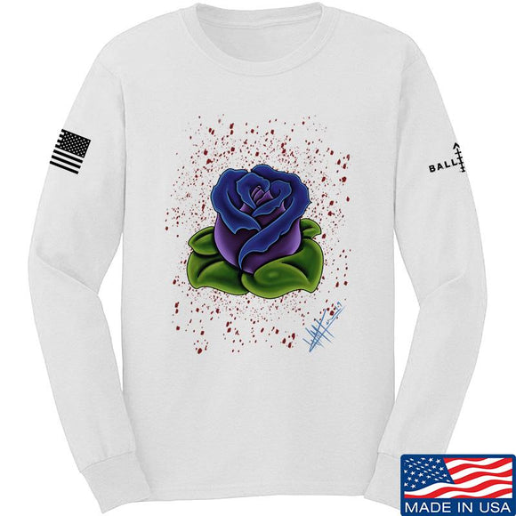 Tattooed n Southern Splattered Rose Long Sleeve T-Shirt Long Sleeve Small / White by Ballistic Ink - Made in America USA