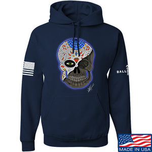 Tattooed n Southern Sugar Skull Hoodie Hoodies Small / Navy by Ballistic Ink - Made in America USA