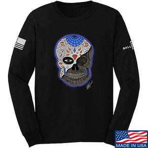 Tattooed n Southern Sugar Skull Long Sleeve T-Shirt Long Sleeve Small / Black by Ballistic Ink - Made in America USA