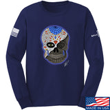 Tattooed n Southern Sugar Skull Long Sleeve T-Shirt Long Sleeve Small / Navy by Ballistic Ink - Made in America USA