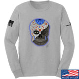 Tattooed n Southern Sugar Skull Long Sleeve T-Shirt Long Sleeve Small / Light Grey by Ballistic Ink - Made in America USA
