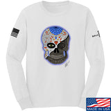 Tattooed n Southern Sugar Skull Long Sleeve T-Shirt Long Sleeve Small / White by Ballistic Ink - Made in America USA