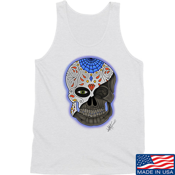 Tattooed n Southern Sugar Skull Tank Tanks SMALL / White by Ballistic Ink - Made in America USA
